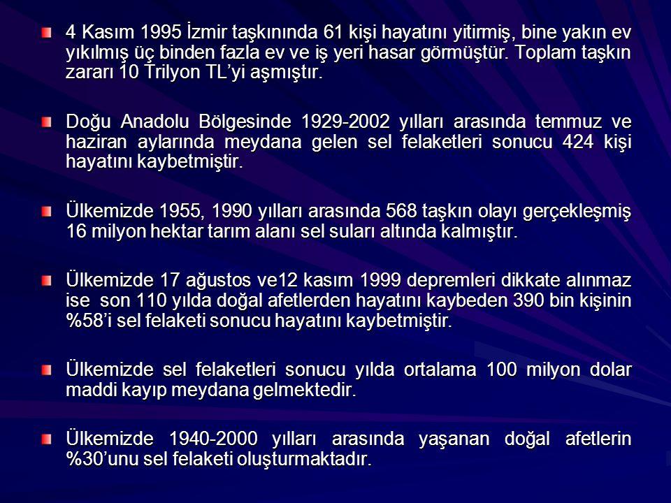 4 Kasım 1995 İzmir taşkınında 61 kişi hayatını yitirmiş, bine yakın ev yıkılmış üç binden fazla ev ve iş yeri hasar görmüştür. Toplam taşkın zararı 10