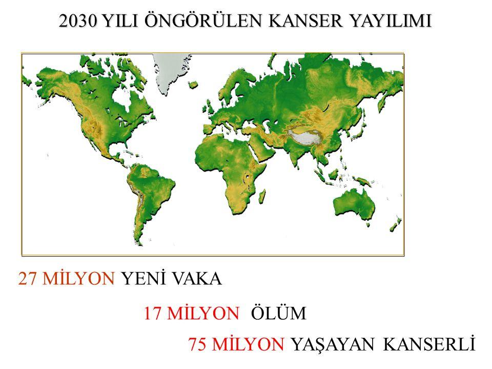 17 MİLYON ÖLÜM 75 MİLYON YAŞAYAN KANSERLİ 2030 YILI ÖNGÖRÜLEN KANSER YAYILIMI 27 MİLYON YENİ VAKA