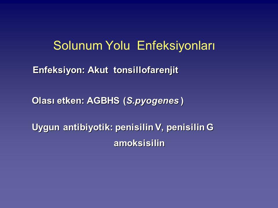 Solunum Yolu Enfeksiyonları Enfeksiyon: Akut tonsillofarenjit Olası etken: AGBHS (S.pyogenes ) Olası etken: AGBHS (S.pyogenes ) Uygun antibiyotik: pen