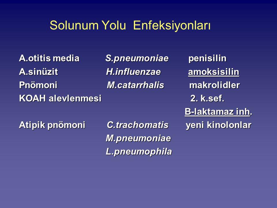 Solunum Yolu Enfeksiyonları A.otitis media S.pneumoniae penisilin A.sinüzit H.influenzae amoksisilin Pnömoni M.catarrhalis makrolidler KOAH alevlenmes