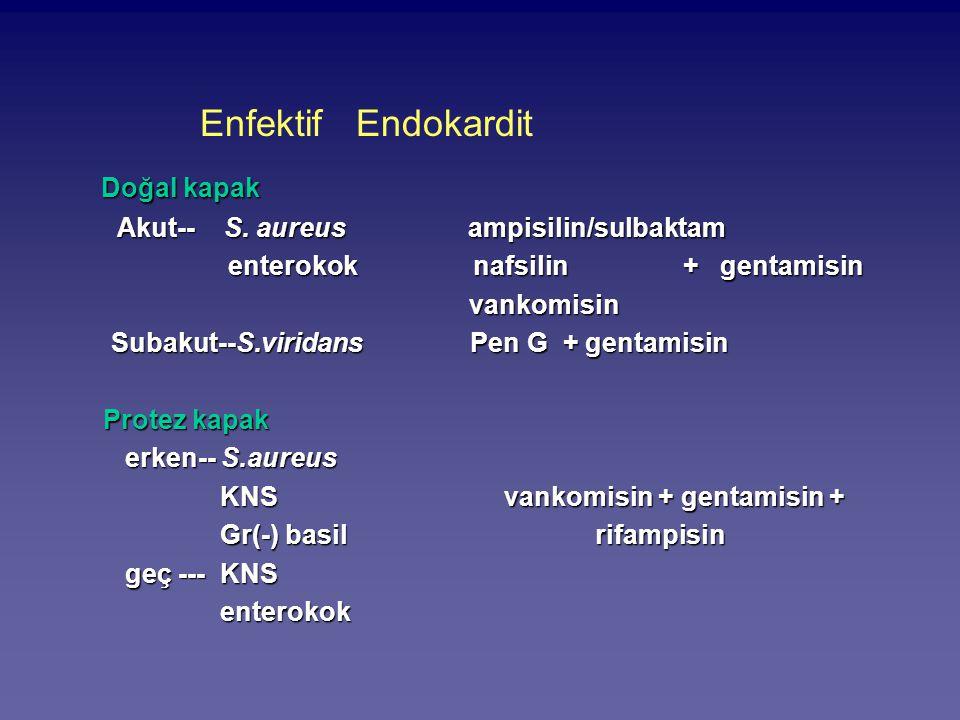 Enfektif Endokardit Doğal kapak Akut-- S. aureus ampisilin/sulbaktam Akut-- S. aureus ampisilin/sulbaktam enterokok nafsilin + gentamisin enterokok na