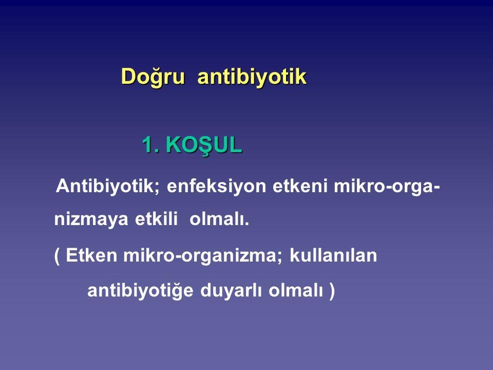 Doğru antibiyotik Doğru antibiyotik 1. KOŞUL 1. KOŞUL Antibiyotik; enfeksiyon etkeni mikro-orga- nizmaya etkili olmalı. ( Etken mikro-organizma; kulla