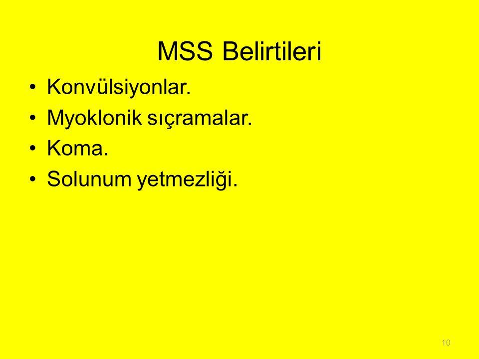 MSS Belirtileri Konvülsiyonlar. Myoklonik sıçramalar. Koma. Solunum yetmezliği. 10