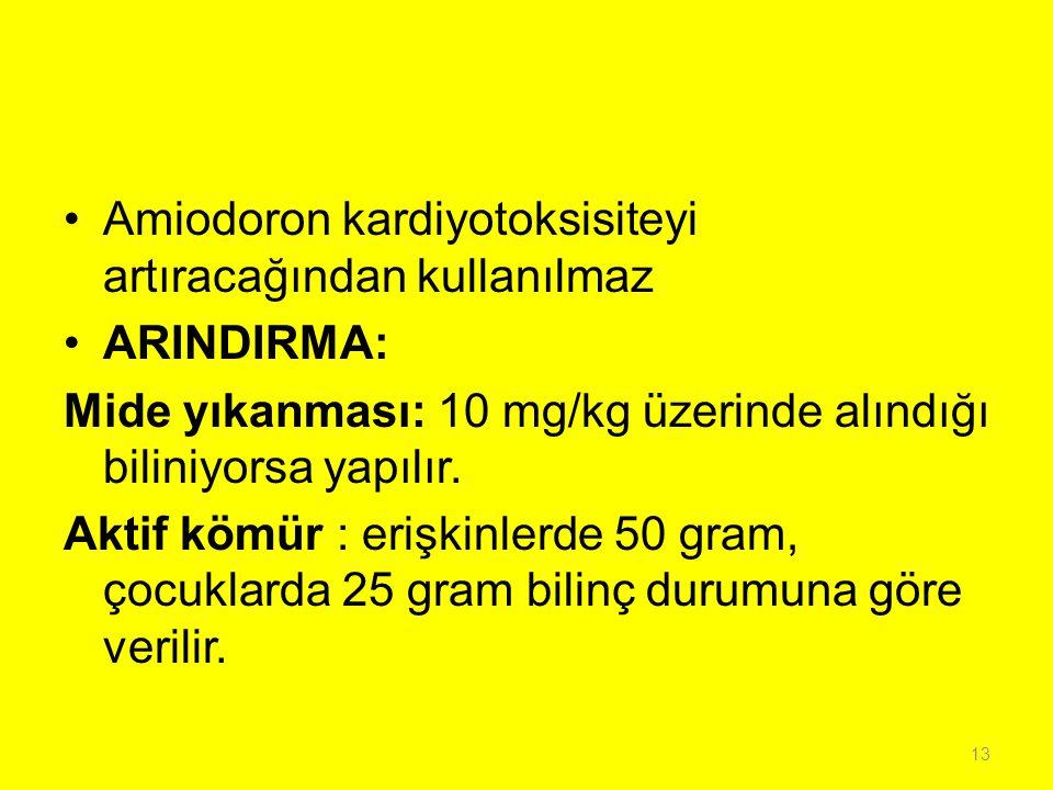 Amiodoron kardiyotoksisiteyi artıracağından kullanılmaz ARINDIRMA: Mide yıkanması: 10 mg/kg üzerinde alındığı biliniyorsa yapılır. Aktif kömür : erişk