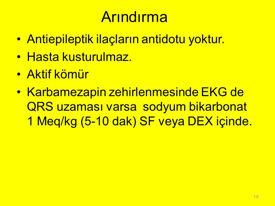 Arındırma Antiepileptik ilaçların antidotu yoktur. Hasta kusturulmaz. Aktif kömür Karbamezapin zehirlenmesinde EKG de QRS uzaması varsa sodyum bikarbo