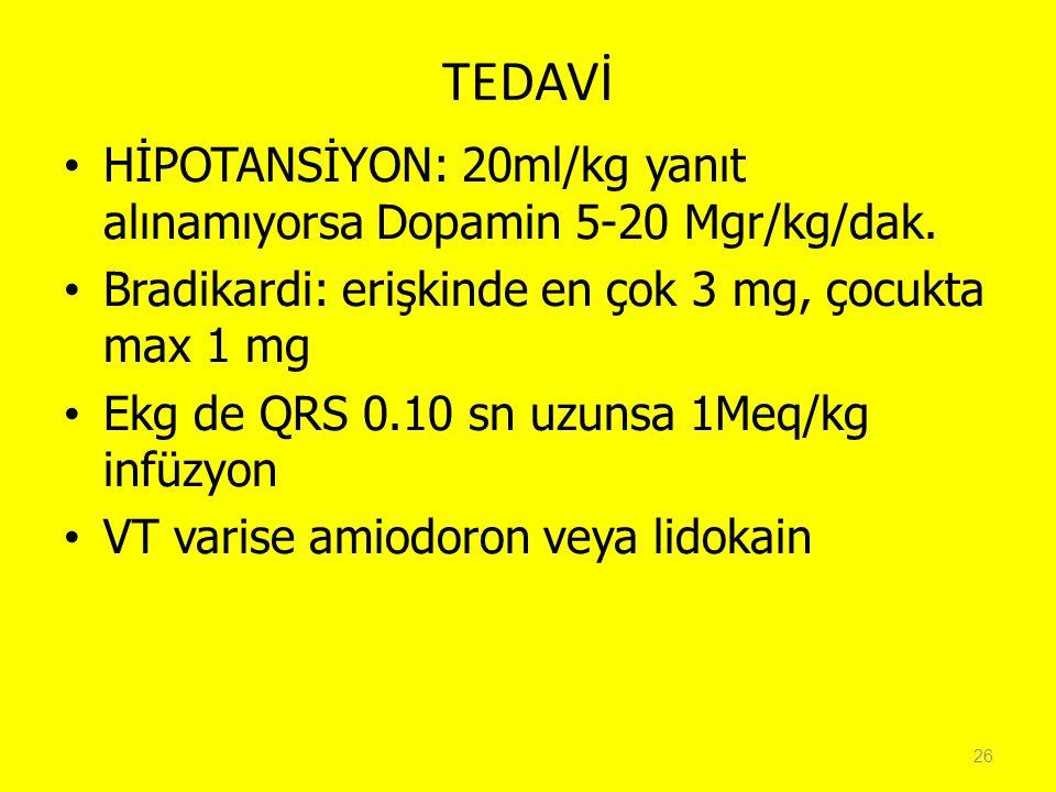 TEDAVİ HİPOTANSİYON: 20ml/kg yanıt alınamıyorsa Dopamin 5-20 Mgr/kg/dak. Bradikardi: erişkinde en çok 3 mg, çocukta max 1 mg Ekg de QRS 0.10 sn uzunsa
