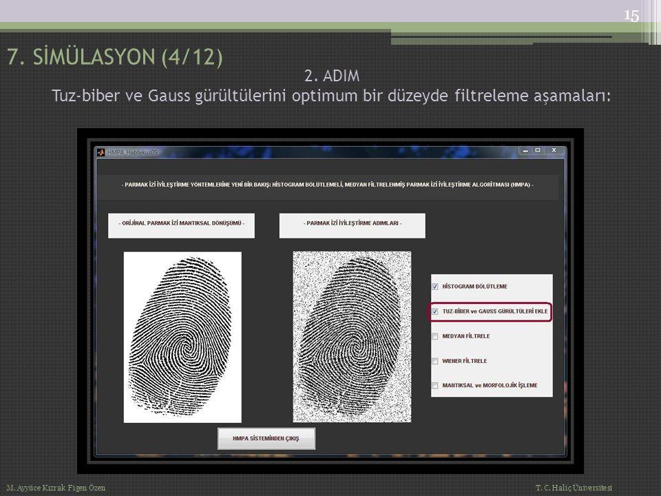 2. ADIM Tuz-biber ve Gauss gürültülerini optimum bir düzeyde filtreleme aşamaları: 7. SİMÜLASYON (4/12) 15 M. Ayyüce Kızrak Figen Özen T. C. Haliç Üni