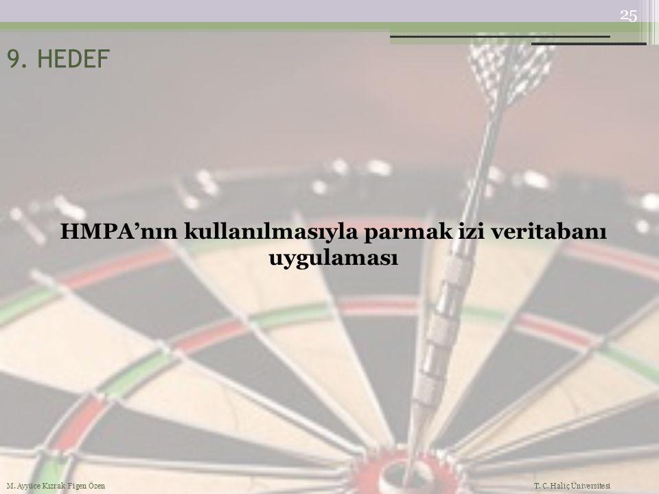 HMPA'nın kullanılmasıyla parmak izi veritabanı uygulaması 9. HEDEF 25 M. Ayyüce Kızrak Figen Özen T. C. Haliç Üniversitesi