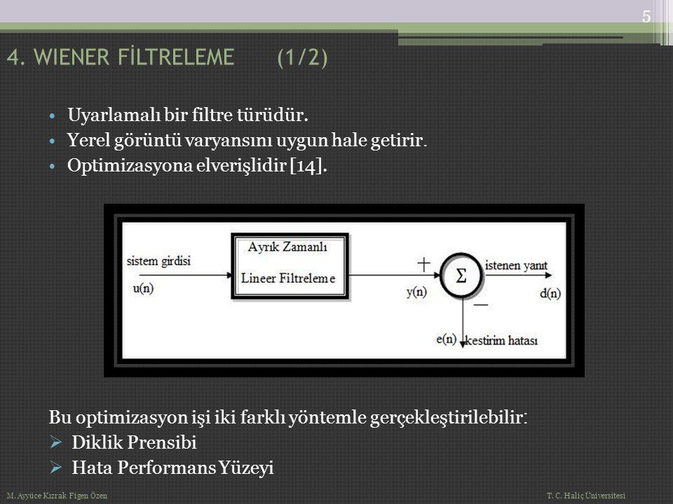 Görüntü İşlemede Wiener Filtre Algoritması: Çanak yapısından dolayı en çok beyaz Gauss gürültüsü bastırmakta kullanılır.