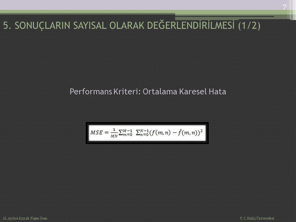 Ortalama Karesel Hata Hesabı Algoritması 5.SONUÇLARIN SAYISAL OLARAK DEĞERLENDİRİLMESİ (2/2) 8 M.