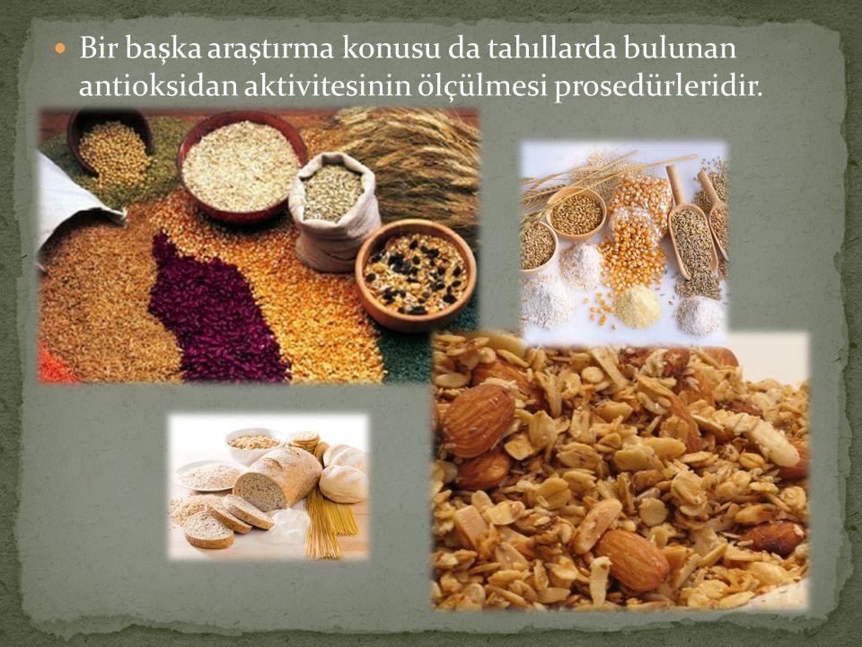 Bir başka araştırma konusu da tahıllarda bulunan antioksidan aktivitesinin ölçülmesi prosedürleridir.
