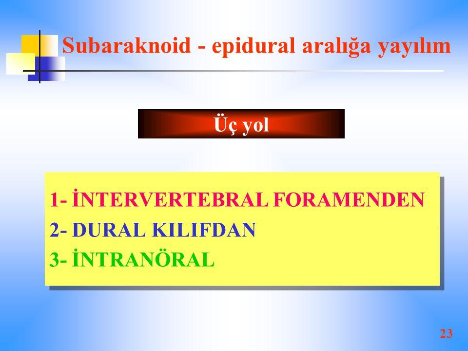 23 Subaraknoid - epidural aralığa yayılım 1- İNTERVERTEBRAL FORAMENDEN 2- DURAL KILIFDAN 3- İNTRANÖRAL 1- İNTERVERTEBRAL FORAMENDEN 2- DURAL KILIFDAN 3- İNTRANÖRAL Üç yol