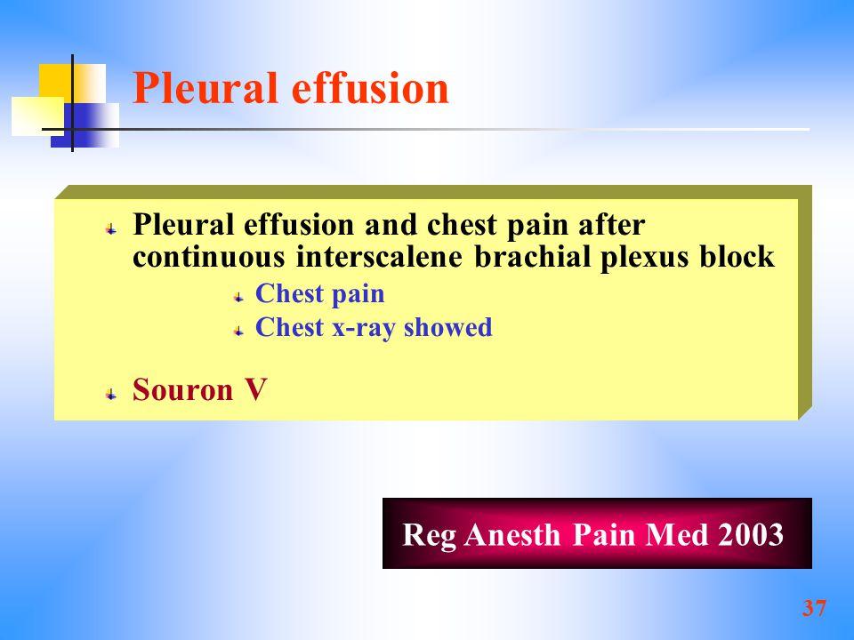 37 Pleural effusion Pleural effusion and chest pain after continuous interscalene brachial plexus block Chest pain Chest x-ray showed Souron V Reg Anesth Pain Med 2003