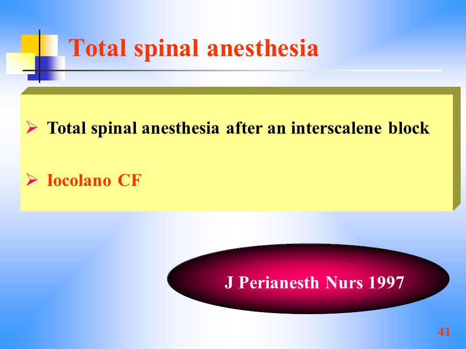 41 Total spinal anesthesia  Total spinal anesthesia after an interscalene block  Iocolano CF J Perianesth Nurs 1997