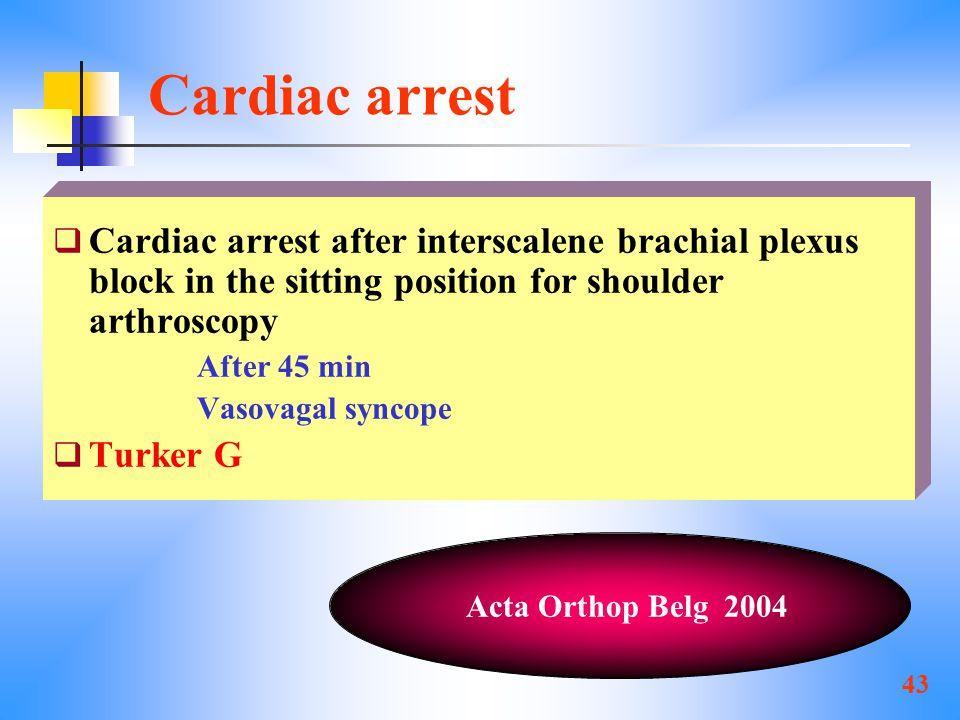 43 Cardiac arrest  Cardiac arrest after interscalene brachial plexus block in the sitting position for shoulder arthroscopy After 45 min Vasovagal syncope  Turker G Acta Orthop Belg 2004