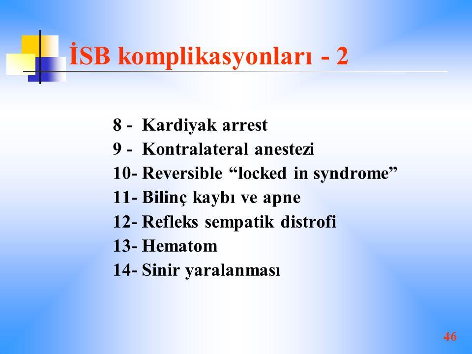 46 İSB komplikasyonları - 2 8 - Kardiyak arrest 9 - Kontralateral anestezi 10- Reversible locked in syndrome 11- Bilinç kaybı ve apne 12- Refleks sempatik distrofi 13- Hematom 14- Sinir yaralanması