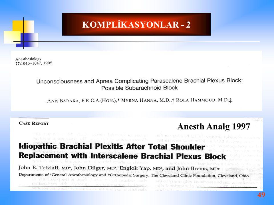 49 KOMPLİKASYONLAR - 2 Anesth Analg 1997