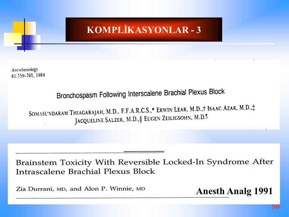 50 KOMPLİKASYONLAR - 3 Anesth Analg 1991