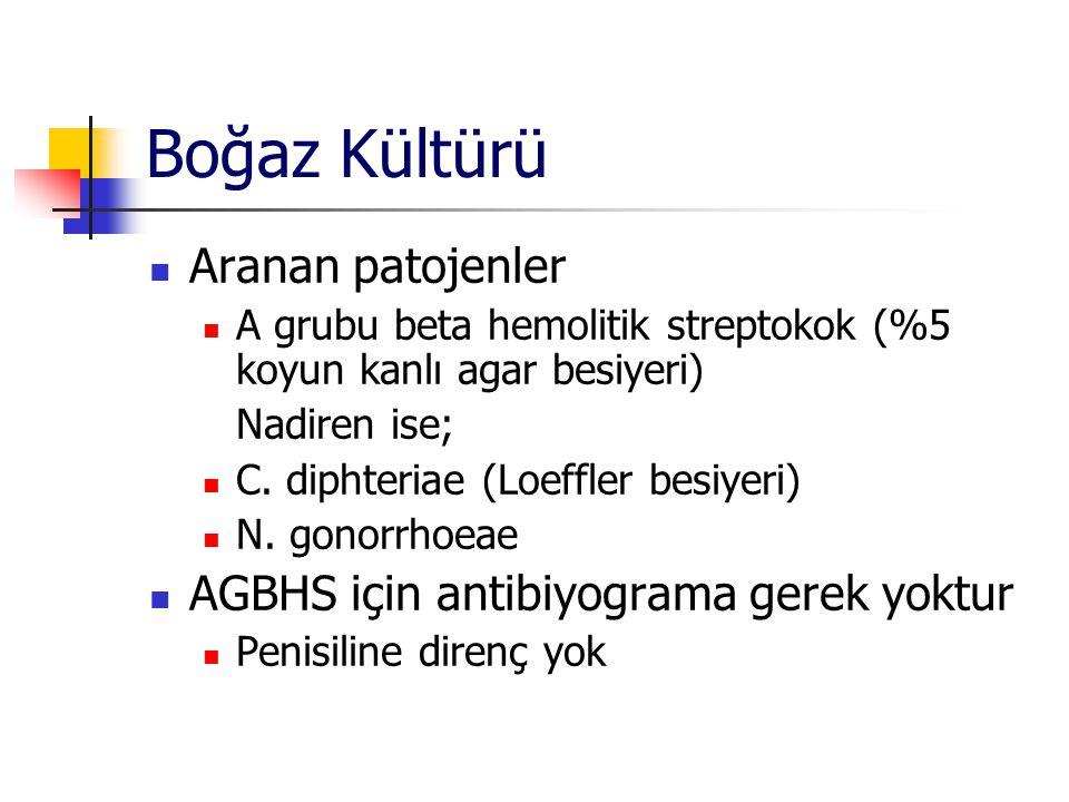 Boğaz Kültürü Aranan patojenler A grubu beta hemolitik streptokok (%5 koyun kanlı agar besiyeri) Nadiren ise; C. diphteriae (Loeffler besiyeri) N. gon