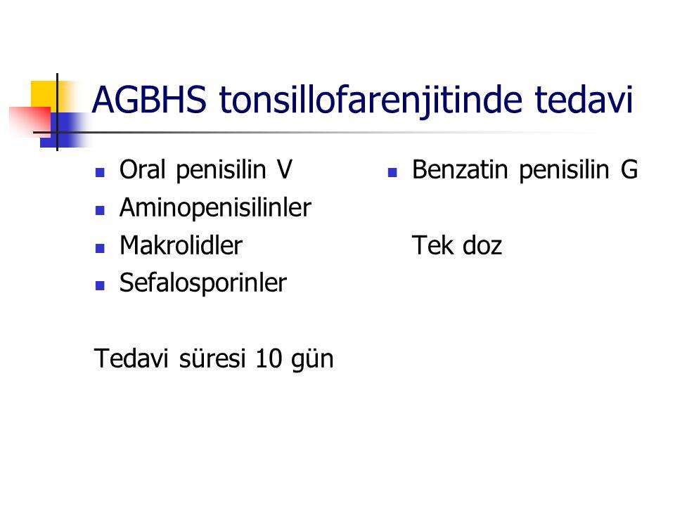 AGBHS tonsillofarenjitinde tedavi Oral penisilin V Aminopenisilinler Makrolidler Sefalosporinler Tedavi süresi 10 gün Benzatin penisilin G Tek doz