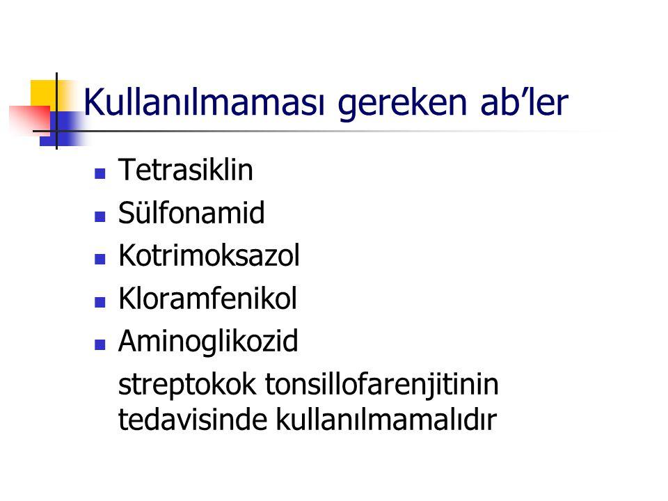 Kullanılmaması gereken ab'ler Tetrasiklin Sülfonamid Kotrimoksazol Kloramfenikol Aminoglikozid streptokok tonsillofarenjitinin tedavisinde kullanılmam