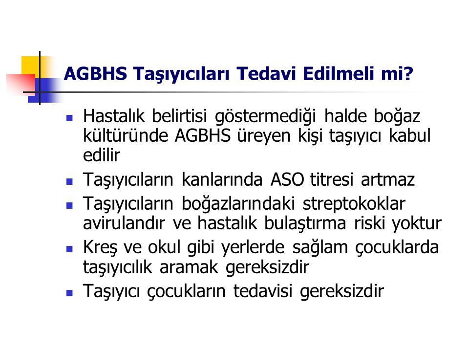 AGBHS Taşıyıcıları Tedavi Edilmeli mi? Hastalık belirtisi göstermediği halde boğaz kültüründe AGBHS üreyen kişi taşıyıcı kabul edilir Taşıyıcıların ka