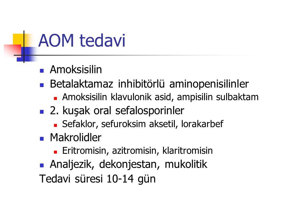 AOM tedavi Amoksisilin Betalaktamaz inhibitörlü aminopenisilinler Amoksisilin klavulonik asid, ampisilin sulbaktam 2. kuşak oral sefalosporinler Sefak