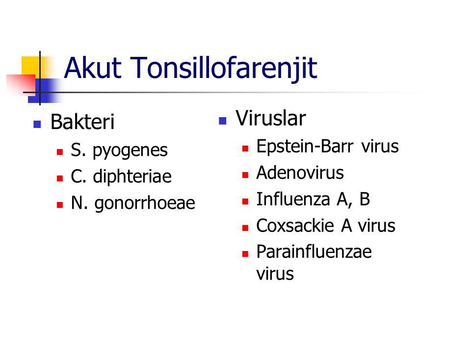 Akut Tonsillofarenjit Bakteri S. pyogenes C. diphteriae N. gonorrhoeae Viruslar Epstein-Barr virus Adenovirus Influenza A, B Coxsackie A virus Parainf