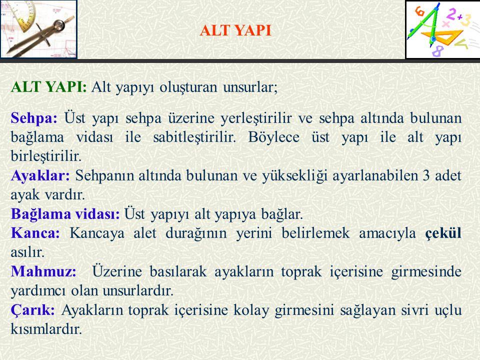 ALT YAPI: Alt yapıyı oluşturan unsurlar; Sehpa: Üst yapı sehpa üzerine yerleştirilir ve sehpa altında bulunan bağlama vidası ile sabitleştirilir. Böyl