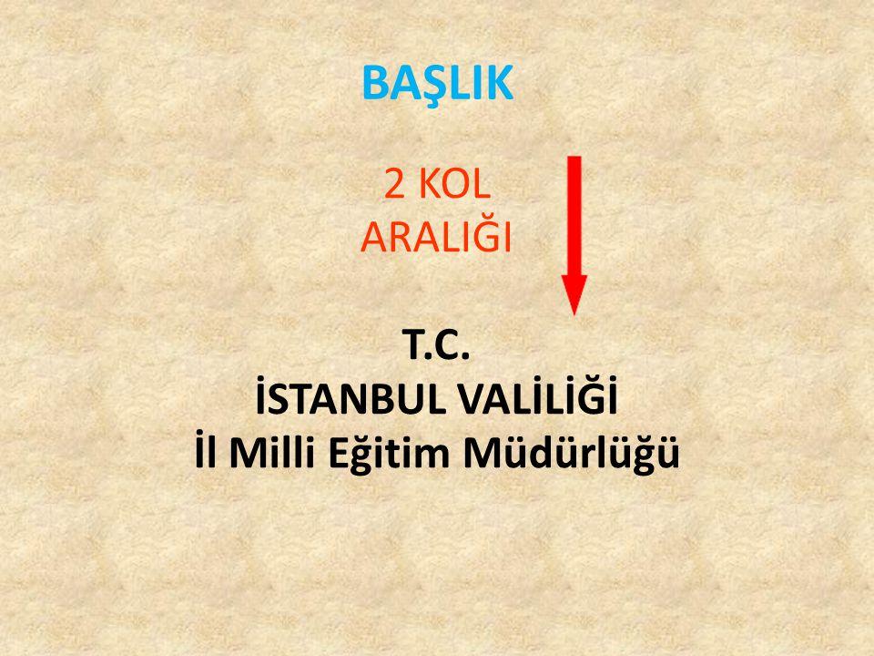 BAŞLIK 2 KOL ARALIĞI T.C. İSTANBUL VALİLİĞİ İl Milli Eğitim Müdürlüğü