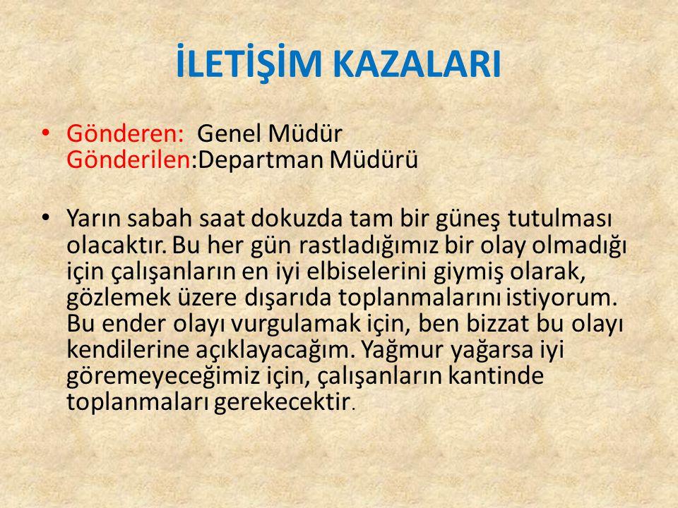 ÖRNEK İstanbul İl Millî Eğitim Müdürlüğü (Özel Kalem Bölümü) Ankara Cad.