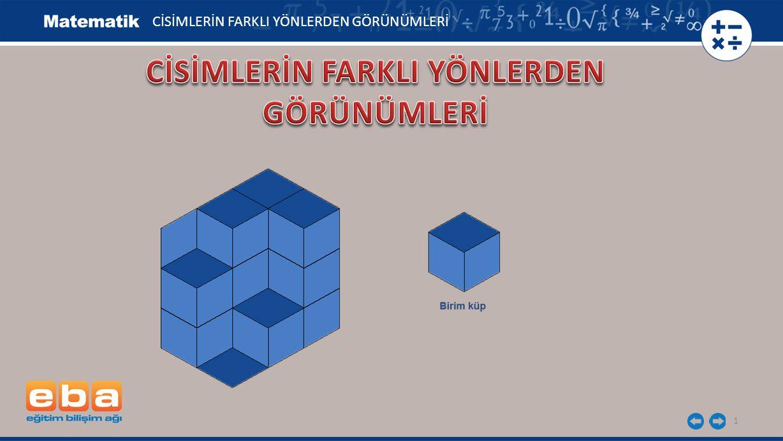 2 7 birim küpten oluşan şekildeki yapının önden, sağdan görünümlerini çizelim.