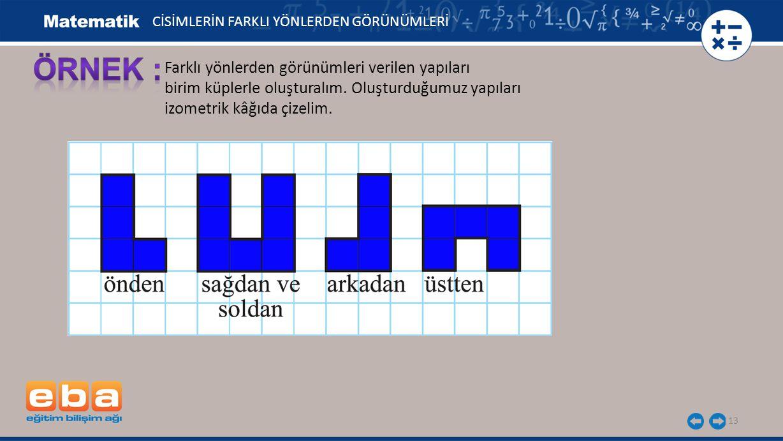 13 Farklı yönlerden görünümleri verilen yapıları birim küplerle oluşturalım. Oluşturduğumuz yapıları izometrik kâğıda çizelim. CİSİMLERİN FARKLI YÖNLE