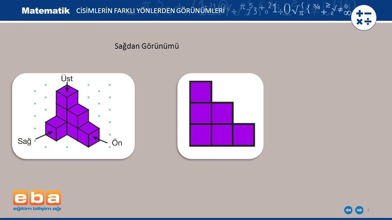 5 Şekildeki yapının önden, arkadan, alttan, üstten, sağdan ve soldan görünümlerini çizelim.