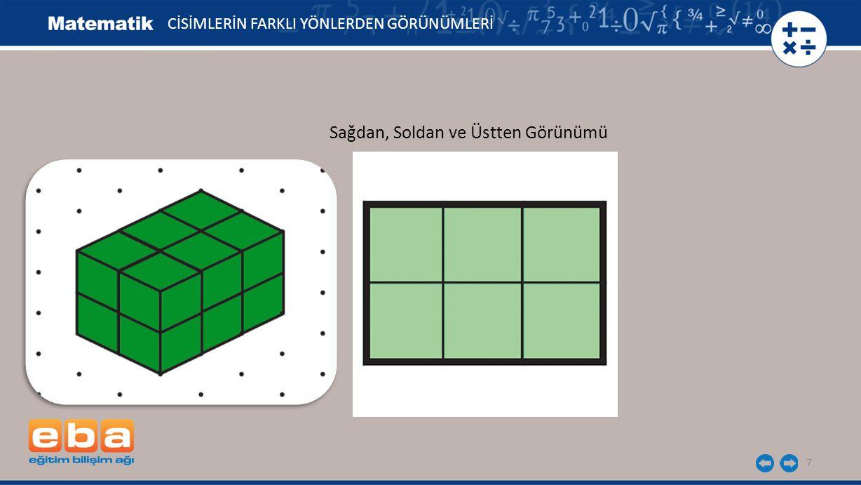 18 Farklı yönlerden görünümleri verilen yapıyı izometrik kâğıda çiziniz.