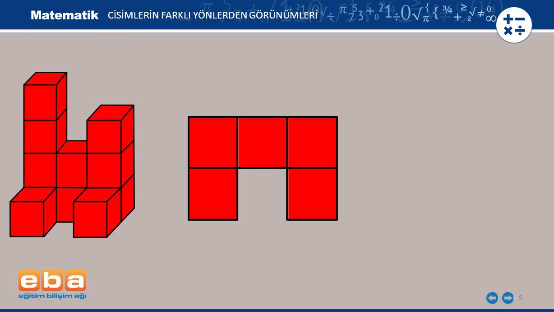 10 Verilen yapının sağdan, üstten ve önden görünümlerini çizelim.
