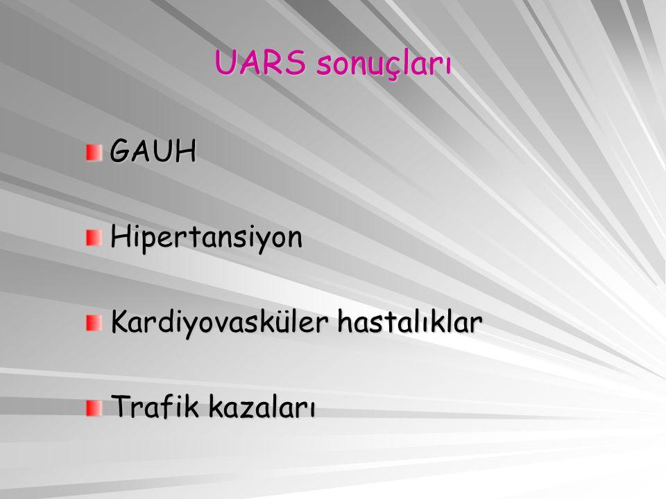 UARS sonuçları GAUHHipertansiyon Kardiyovasküler hastalıklar Trafik kazaları