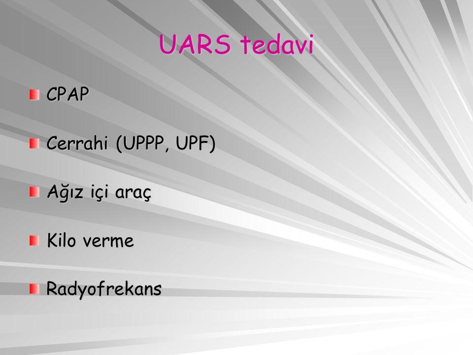 UARS tedavi CPAP Cerrahi (UPPP, UPF) Ağız içi araç Kilo verme Radyofrekans