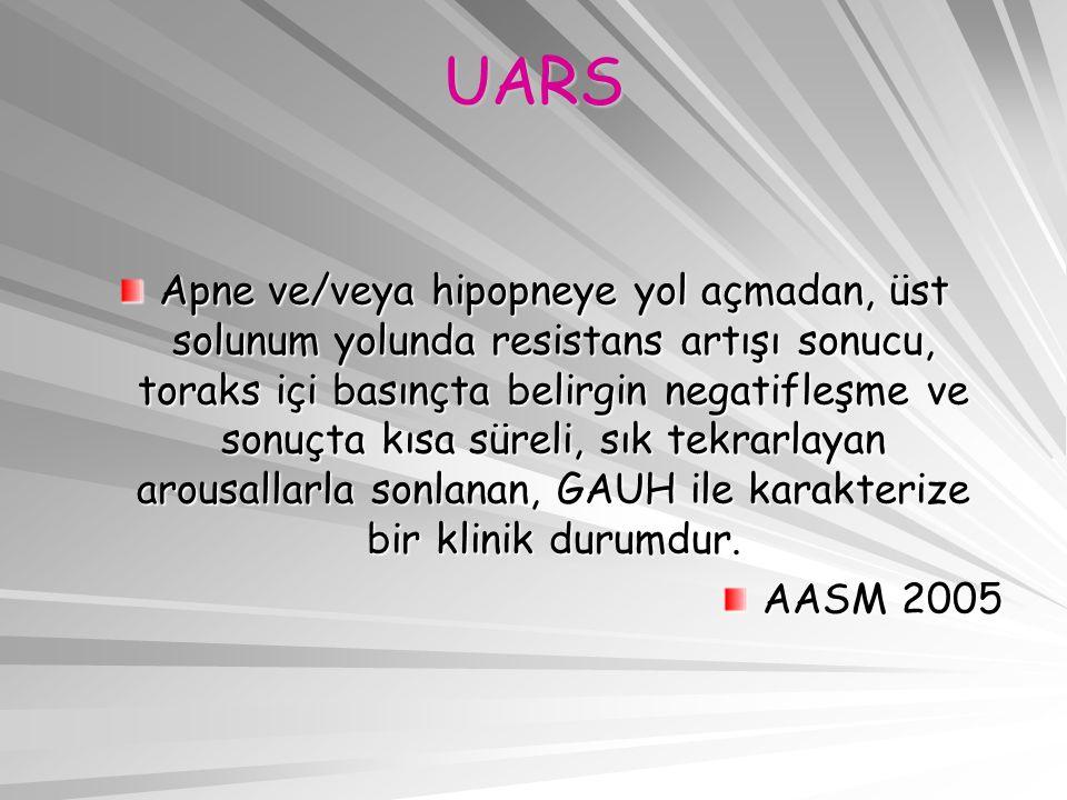 UARS Apne ve/veya hipopneye yol açmadan, üst solunum yolunda resistans artışı sonucu, toraks içi basınçta belirgin negatifleşme ve sonuçta kısa süreli, sık tekrarlayan arousallarla sonlanan, GAUH ile karakterize bir klinik durumdur.