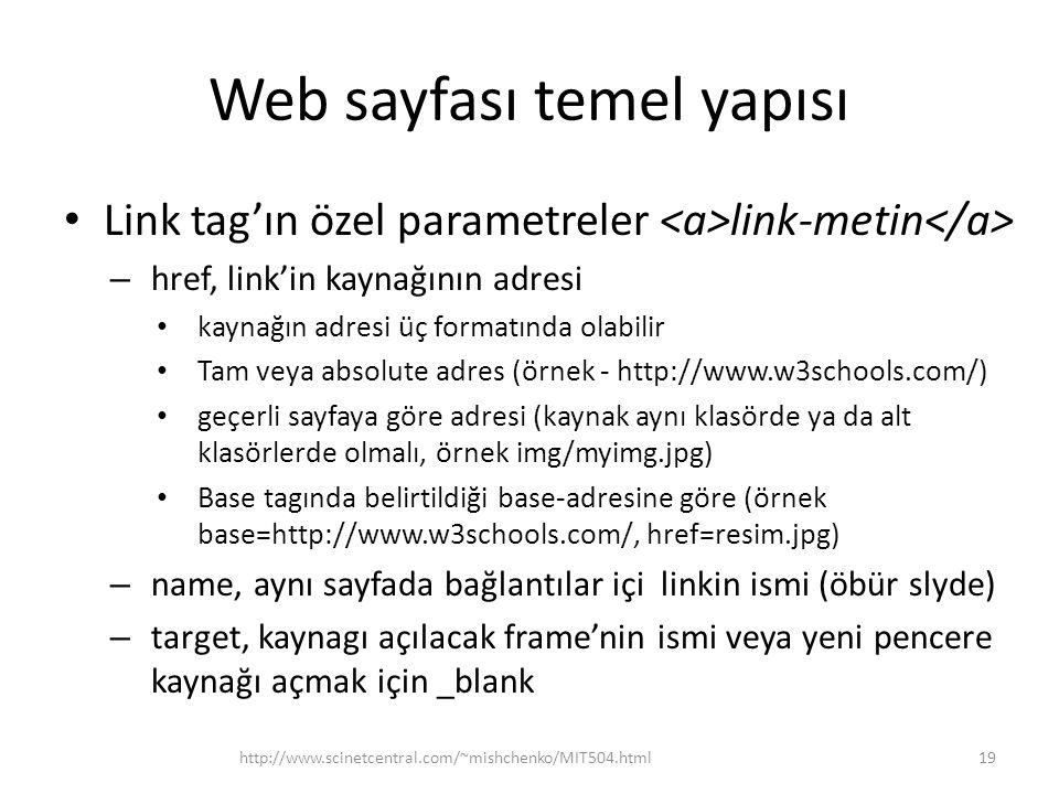 Web sayfası temel yapısı Link tag'ın özel parametreler link-metin – href, link'in kaynağının adresi kaynağın adresi üç formatında olabilir Tam veya absolute adres (örnek - http://www.w3schools.com/) geçerli sayfaya göre adresi (kaynak aynı klasörde ya da alt klasörlerde olmalı, örnek img/myimg.jpg) Base tagında belirtildiği base-adresine göre (örnek base=http://www.w3schools.com/, href=resim.jpg) – name, aynı sayfada bağlantılar içi linkin ismi (öbür slyde) – target, kaynagı açılacak frame'nin ismi veya yeni pencere kaynağı açmak için _blank http://www.scinetcentral.com/~mishchenko/MIT504.html19