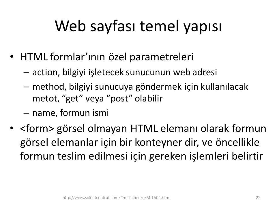 Web sayfası temel yapısı HTML formlar'ının özel parametreleri – action, bilgiyi işletecek sunucunun web adresi – method, bilgiyi sunucuya göndermek için kullanılacak metot, get veya post olabilir – name, formun ismi görsel olmayan HTML elemanı olarak formun görsel elemanlar için bir konteyner dir, ve öncellikle formun teslim edilmesi için gereken işlemleri belirtir http://www.scinetcentral.com/~mishchenko/MIT504.html22