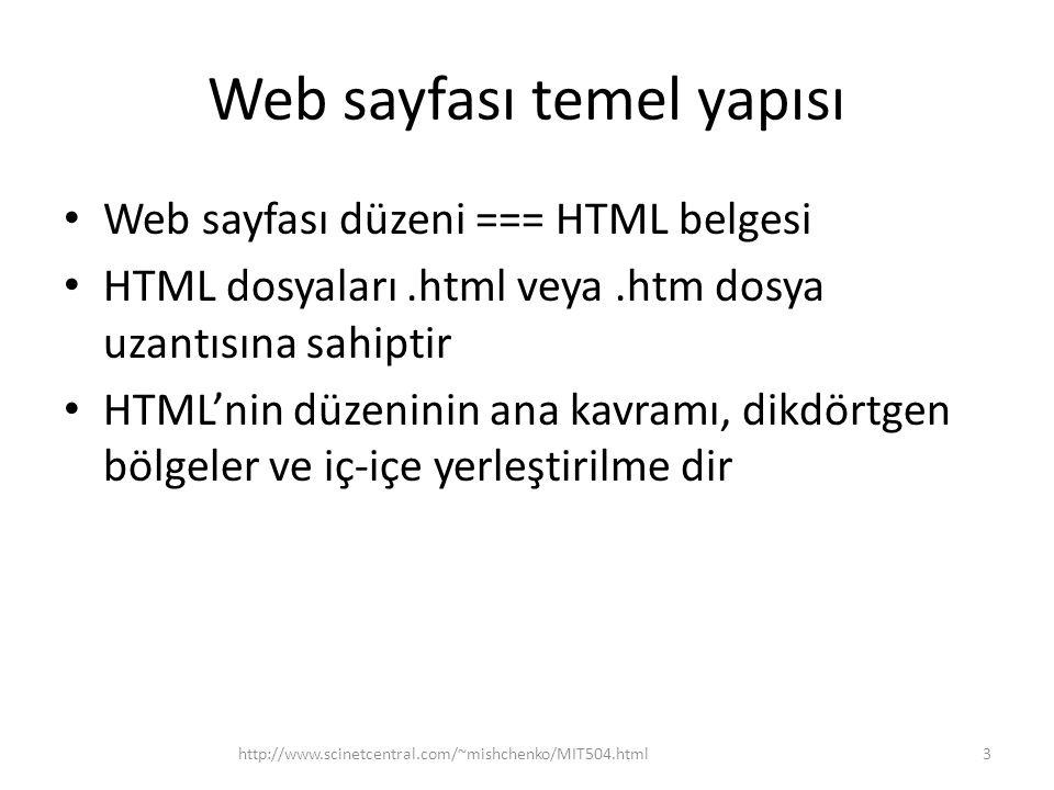 Web sayfası temel yapısı Web sayfası düzeni === HTML belgesi HTML dosyaları.html veya.htm dosya uzantısına sahiptir HTML'nin düzeninin ana kavramı, dikdörtgen bölgeler ve iç-içe yerleştirilme dir http://www.scinetcentral.com/~mishchenko/MIT504.html3