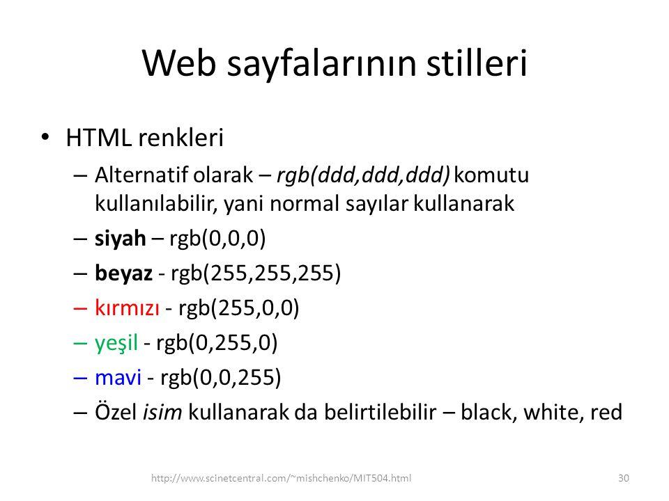 Web sayfalarının stilleri HTML renkleri – Alternatif olarak – rgb(ddd,ddd,ddd) komutu kullanılabilir, yani normal sayılar kullanarak – siyah – rgb(0,0,0) – beyaz - rgb(255,255,255) – kırmızı - rgb(255,0,0) – yeşil - rgb(0,255,0) – mavi - rgb(0,0,255) – Özel isim kullanarak da belirtilebilir – black, white, red http://www.scinetcentral.com/~mishchenko/MIT504.html30