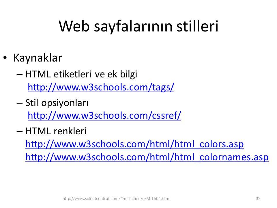 Web sayfalarının stilleri Kaynaklar – HTML etiketleri ve ek bilgi http://www.w3schools.com/tags/http://www.w3schools.com/tags/ – Stil opsiyonları http://www.w3schools.com/cssref/http://www.w3schools.com/cssref/ – HTML renkleri http://www.w3schools.com/html/html_colors.asp http://www.w3schools.com/html/html_colornames.asp http://www.w3schools.com/html/html_colors.asp http://www.w3schools.com/html/html_colornames.asp http://www.scinetcentral.com/~mishchenko/MIT504.html32