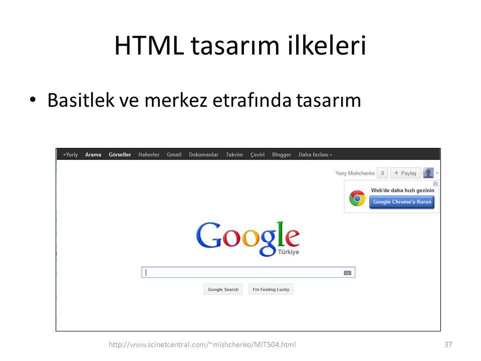 HTML tasarım ilkeleri Basitlek ve merkez etrafında tasarım http://www.scinetcentral.com/~mishchenko/MIT504.html37