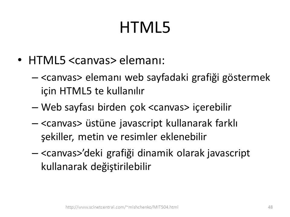 HTML5 HTML5 elemanı: – elemanı web sayfadaki grafiği göstermek için HTML5 te kullanılır – Web sayfası birden çok içerebilir – üstüne javascript kullanarak farklı şekiller, metin ve resimler eklenebilir – 'deki grafiği dinamik olarak javascript kullanarak değiştirilebilir http://www.scinetcentral.com/~mishchenko/MIT504.html48