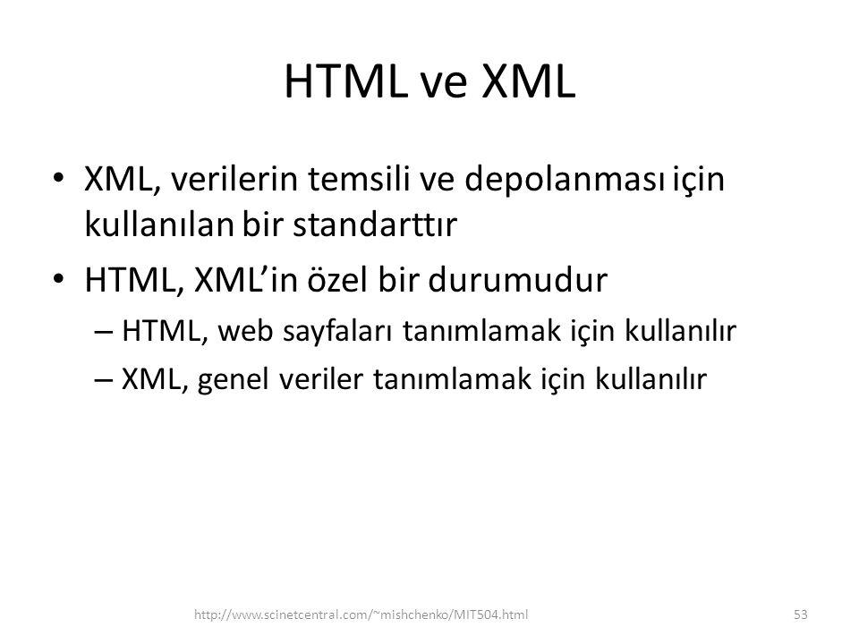 HTML ve XML XML, verilerin temsili ve depolanması için kullanılan bir standarttır HTML, XML'in özel bir durumudur – HTML, web sayfaları tanımlamak için kullanılır – XML, genel veriler tanımlamak için kullanılır http://www.scinetcentral.com/~mishchenko/MIT504.html53
