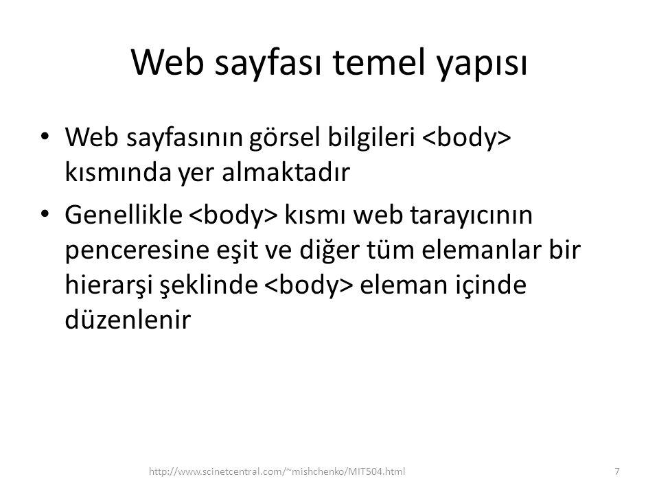 Web sayfası temel yapısı http://www.scinetcentral.com/~mishchenko/MIT504.html8 Web sayfası Başlık Paragraf Resim Tablo Sayfanın elemanları