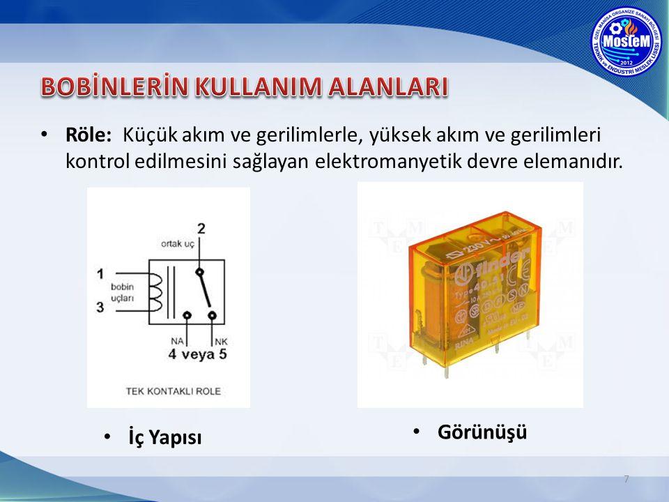Röle: Küçük akım ve gerilimlerle, yüksek akım ve gerilimleri kontrol edilmesini sağlayan elektromanyetik devre elemanıdır. 7 İç Yapısı Görünüşü