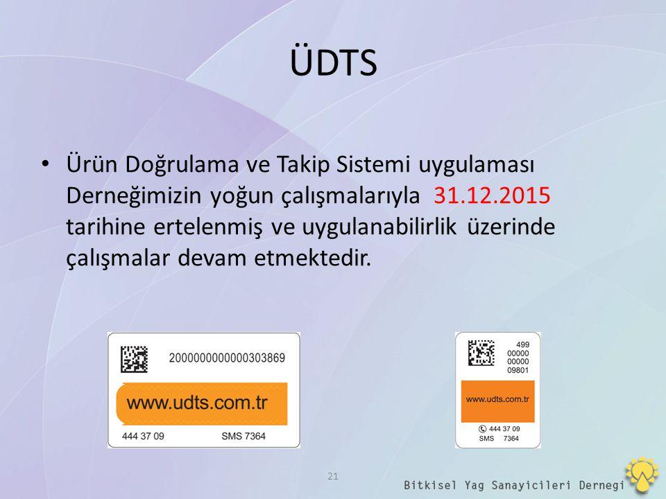 ÜDTS Ürün Doğrulama ve Takip Sistemi uygulaması Derneğimizin yoğun çalışmalarıyla 31.12.2015 tarihine ertelenmiş ve uygulanabilirlik üzerinde çalışmal